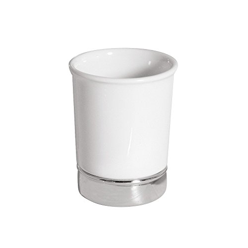 InterDesign York Ceramic Tumbler Cup for Bathroom Vanity Countertops - (Porcelain Collection Paper)