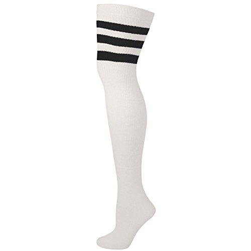 AJs Retro Thigh High Tube Socks - White, Black-M (Thigh Socks For Women)