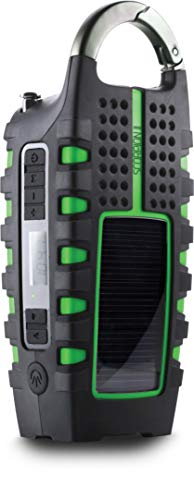 Eton NSP101WXGR AM/FM/NOAA Weatherband Scorpion II Rugged Portable Emergency Weather Radio With Smartphone Charger, Digital Tuner, Rugged Exterior Skin And Aluminum Carabineer, Solar Battery, Green