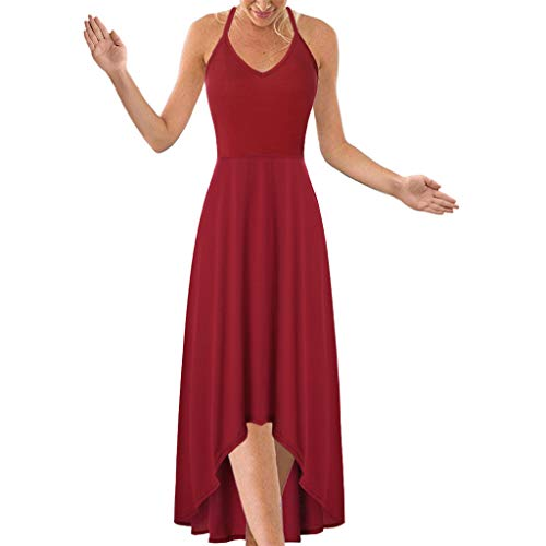 【HebeTop】 Women's Sexy Halter V Neck Dress Solid Backless Beach Dress Red ()