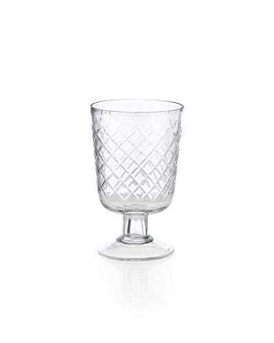 (Serene Spaces Living Diamond Cut Glass Vase, Measures 3.25 inches D X 5 inches H)