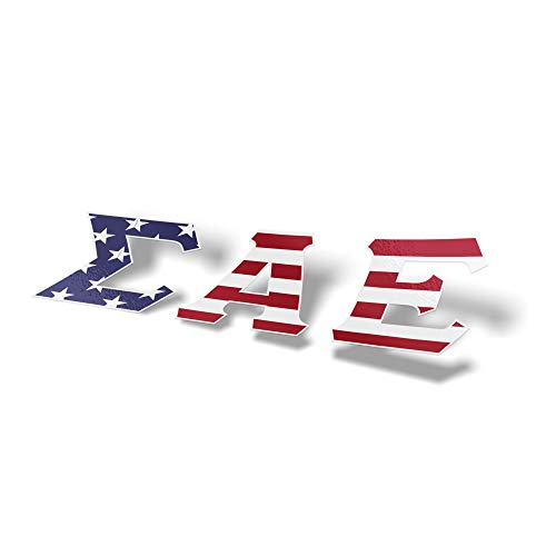 Sigma Alpha Epsilon USA Letter Sticker Decal Greek 2 Inches Tall for Window Laptop Computer Car SAE
