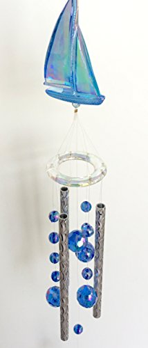 Sailboat Boating Acrylic Wind Chime Sparkling Iridescent Ocean Blue Mobile