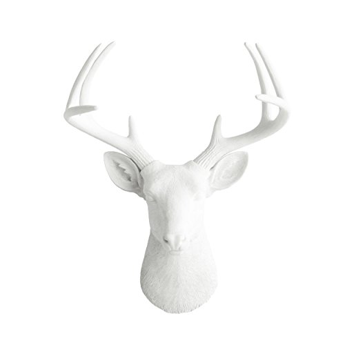 "WALL CHARMERS Large White Faux Deer Head - 21"" White Faux Ta"