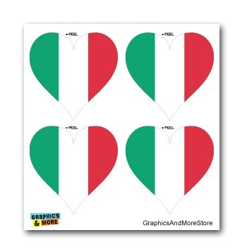 Italy Italian Flag Heart - Set of 4 - Window Bumper Laptop Stickers