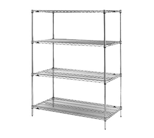"METRO N576BR Shelving Rack with 4 Super Erecta Wire Shelves, Brite Zinc, 24"" x 72"" x 63"""