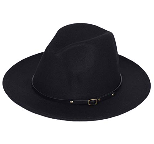 - Lanzom Women Lady Retro Wide Brim Floppy Panama Hat Belt Buckle Wool Fedora Hat (Black, One Size)