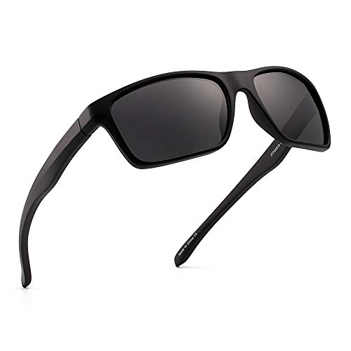 (Polarized Sports Sunglasses Mirror Wrap Around Driving Fishing Men Women (Black/Mirror Grey) )
