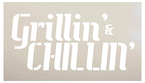 (Grillin & Chillin Stencil by StudioR12 | Reusable Mylar Word Art Template | Paint Wood Sign - Pallet | Craft Backyard Porch Gift for Dad - Grandpa | DIY Grillmaster Cookout Patio Decor | Select Size)