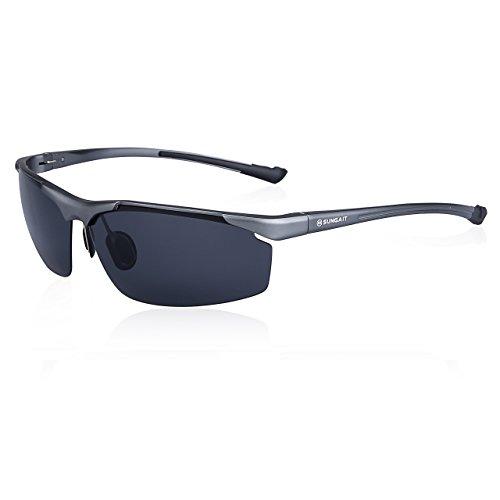SUNGAIT Stylish Metal Frame Polarized Sunglasses for Men Fit Driving Fishing (Gunmetal Frame Gray Lens)