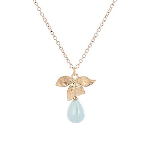 DDLBiz Women Water Drop Element Necklace Delicate Flowers Pierced (Element Strand Necklace)