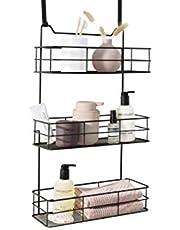 LIFA LIVING Deurrek, Metalen Opbergmanden, 3-laagse Kruidenrek, Zwarte Ophangbare Deurrekjes voor Woonkamer, Badkamer, Slaapkamer, 35 x 15 x 60 cm