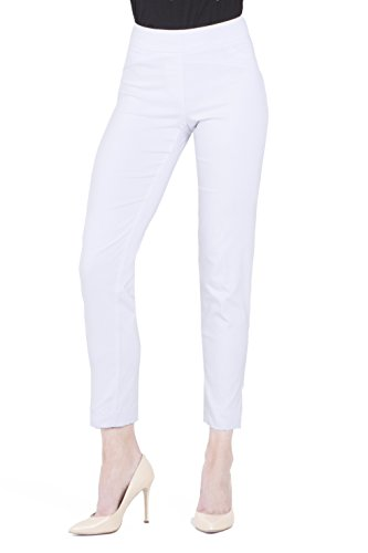 (Vincenté Women's Super Slimming Perfect Comfort Fit Pull On Ankle Leg Pant with Contoured Waistband and Tummy Control, Color White Size 10)