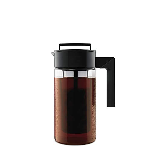 Hand Glass Pressed - Takeya 10310 Patented Deluxe Cold Brew Iced Coffee Maker with Airtight Lid & Silicone Handle, 1 Quart, Black - Made in USA BPA-Free Dishwasher-Safe