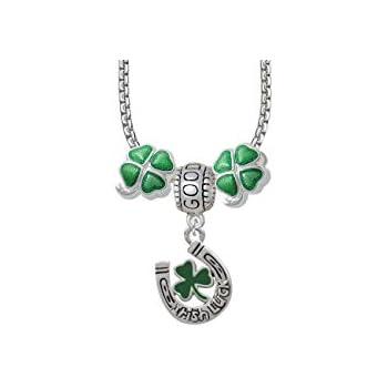 Irish Shamrocks ☘️ Clover Horseshoe charm Bangle Bracelet