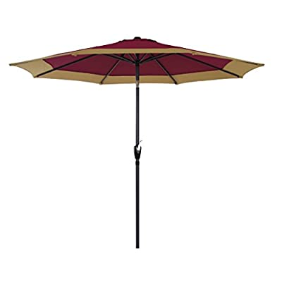 "PHI VILLA 9 FT Patio Umbrella Table Umbrella with Push Button Tilt and Crank, Red and Beige (Base Not Included) - Special designed red and beige umbrella helps to create an attractive and welcoming patio. Lightweight and low-maintenance Aluminum pole(1.5"") and 8 steel ribs, treated with powder coating which makes it strong and highly durable in any weather conditions Easy to open and close with the crank handle. With an easy to operate tilt feature, this umbrella provides you a full protection from the sun all the time - shades-parasols, patio-furniture, patio - 31ynHTVcOrL. SS400  -"