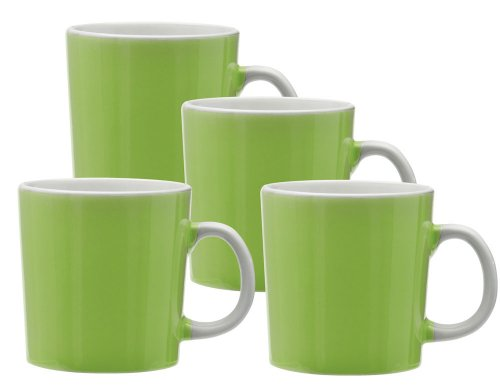 Culver Duncan Ceramic Mug, 14-Ounce, Lime, Set of 4 Lime Green Mug