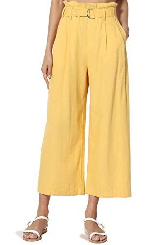 - TheMogan Women's Belted High Rise Linen-Blend Wide Leg Culotte Crop Pants Mustard M