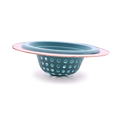 COOK with COLOR Flexible Silicone Good Grips Kitchen Sink Strainer Rose Gold Copper Large Wide 4.5' Diameter Rim/Aqua Silicone Durable Drain Basket Traps Food Debris and Prevents Clogs