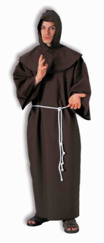 Brown Monk Robe - Forum Deluxe Hooded Monk Costume Robe, Brown, One Size