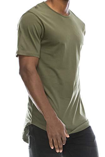 11573cb0c5344 JC DISTRO Mens Hipster Hip Hop Cotton Elong Crewneck T-Shirt Militarygreen  Large