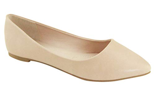 Bella Marie Angie-53 Women's Classic Pointy Toe Ballet Slip On Flats Shoes (9, nude-52)