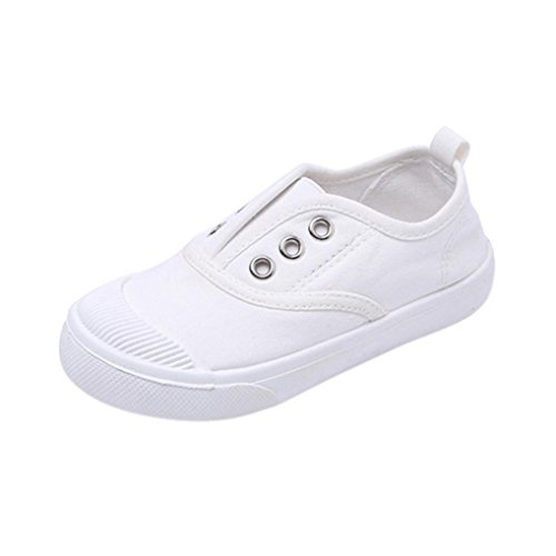 Axinke Unisex Children Casual Slip-on Cute Plimsole Sneaker Canvas Shoes for Toddlers Little Kids (White, 1 M US Little Kid)
