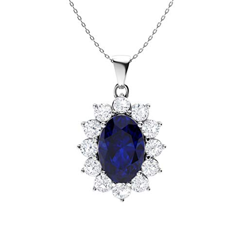 Diamondere Natural and Certified Oval Blue Sapphire and Diamond Necklace in 14k White Gold | 1.25 Carat Pendant with ()