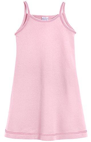 City Threads Little Girls' Summer Dress Cami Camisole Spaghetti Strap Maxi Slip No Sleeve Dress For Sensitive Skin or SPD Sensory Friendly, Pink w/Light Pink Stitch, 2T]()