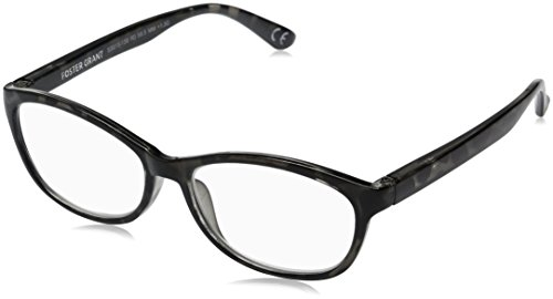 Foster Grant Women's Brielle 1017899-150.COM Cateye Reading Glasses, Crystal with Metallic Gun, 1.5