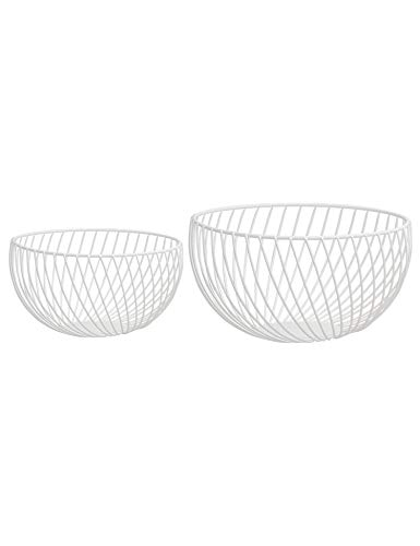 Nakko Handmade Iron Wire Fruit Bowl Basket Holder Stand, Set of 2, Hemisphere Modern Style Table Top Centerpiece for Kitchen Counter, Dining Room, Multi-Storage for Cabinet and Pantry (Matte White)