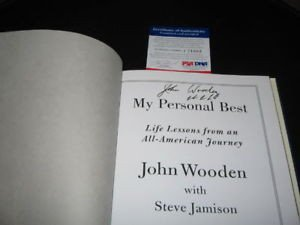 John Wooden Ucla Bruins Champs PSA/DNA Signed Book - Authentic Signed (Nfl Sticker Book)