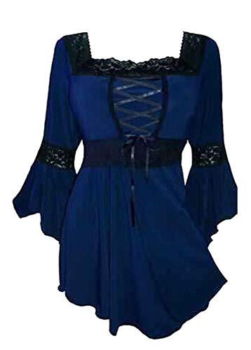 Pplum Taille Cloche pour Femmes Bandage Manchon Grande Wenchuang Bleu Blouse wRBYqFn