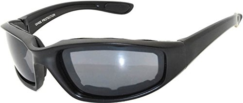 OWL Motorcycle Padded Foam Glasses Smoke Mirror Clear Lens (Blk_Smk_Polarized, PC - Eyewear Mirrors And Smoke