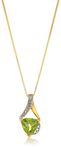 (Sterling Silver Trillion-Cut Peridot and Diamond Accent Pendant Necklace, 18