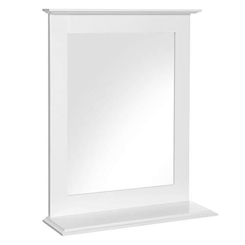 VASAGLE Espejo de Cuarto de Bano, Espejo de Pared con Repisa, Espejo de Maquillaje Espejo de Tocador, 46 x 12 x 55 cm, Blanco Mate BBC25WT
