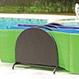 3 Wide Slots Espresso Finish Resin Wicker Pool Raft Caddy | Weather-resistant Resin Wicker and Heavyweight Powder-coated Steel Pool Float Organizer | Perfect for Your Pool Area to Store Rafts, Floats, and Foam Noodles Neatly and Organized