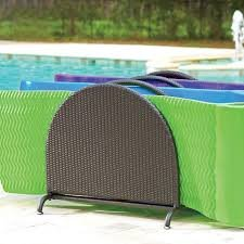 3 Wide Slots Espresso Finish Resin Wicker Pool Raft Caddy | Weather-resistant Resin Wicker and Heavyweight Powder-coated Steel Pool Float Organizer | Perfect for Your Pool Area to Store Rafts, ()