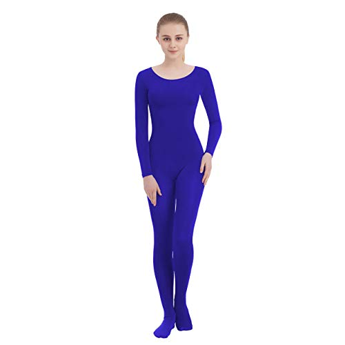 Unisex Scoop Neck Footed/Footless Long Sleeve/Sleeveless Lycra Spandex Unitard (X-Large, Royal Blue New (Footed))