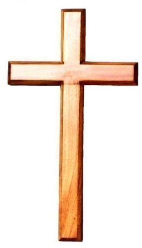 80cm wooden Mahogany very large wall hanging cross brown wood Shalom