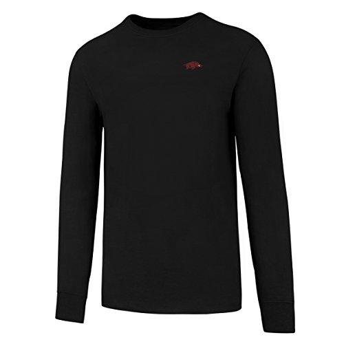 Arkansas Long Sleeve T-shirt - OTS NCAA Arkansas Razorbacks Men's Rival Long sleeve Lccb Tee, Large, Jet Black