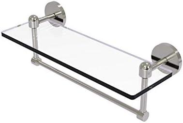 Allied Brass TA-1TB 16-SN Glass Shelf with Towel Bar, 16-Inch x 5-Inch