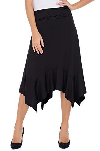 - Lomantise Swing Skirts for Women Knee Length Flowy Midi Skirt Casual Flared Long Skirt High Low Black L