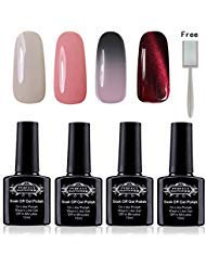 Soak Off UV LED Gel Nail Polish 10ml, Mood Changing, Chameleon Temperature Colors Changes Thermal Lacquers, Pack of 6 -Set...