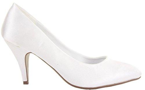 Ladies Womens Stiletto Classic Party Evening Low Medium High Heels Bridal Court Wedding Shoes Pumps Size 3 - 8 New White Satin Se7sdb8wWQ