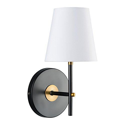 Tamb Wall Sconce 1-Light Fixture with Fabric Shade - Antique Brass - Linea di Liara (Brass Victorian Chandelier)