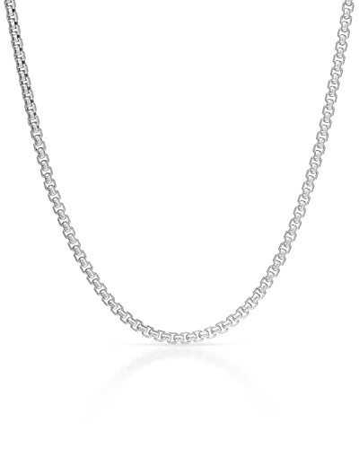 MCS Jewelry 14 Karat Yellow OR White Gold Box Rolo Chain Necklace 1.7mm (Length: 18