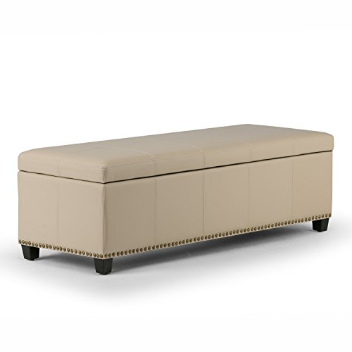 Simpli Home Kingsley Rectangular Storage Ottoman Bench, Large, Satin Cream