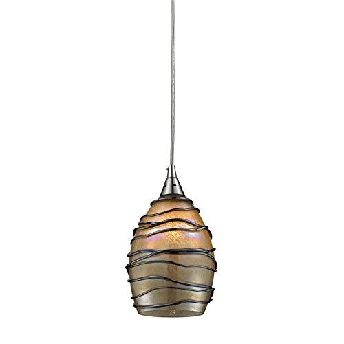 elk 311421led vines 1led light pendant with hand blown glass shade 5 by 9inch satin nickel finish