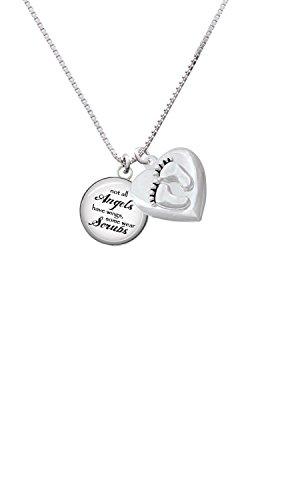 Domed Angels Wear Scrubs Custom Engraved Baby Feet Heart Locket Necklace -